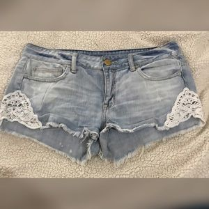 American Eagle Destroyed Jean Shorts w/ Lace